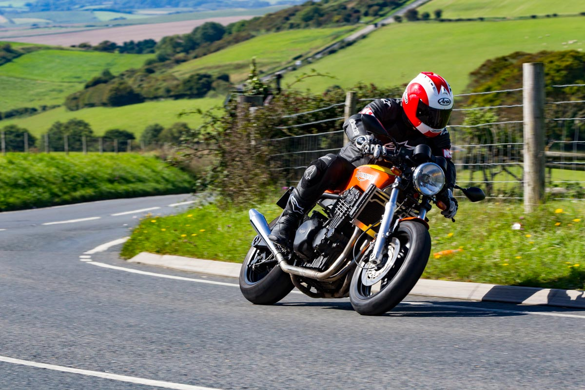 Cafe Racer Kit build in action on the Isle of Wight