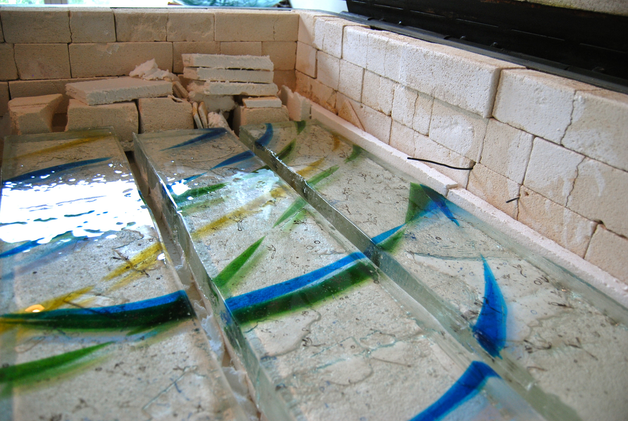 Beltsville-Laurel - Donor Recognition Sculpture - Fused glass columns (in the kiln).