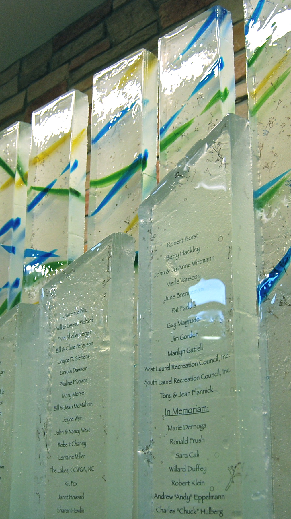 Beltsville-Laurel - Donor Recognition Sculpture - Fused glass columns with a custom made steel base - 7' high x 6' wide (side detail).