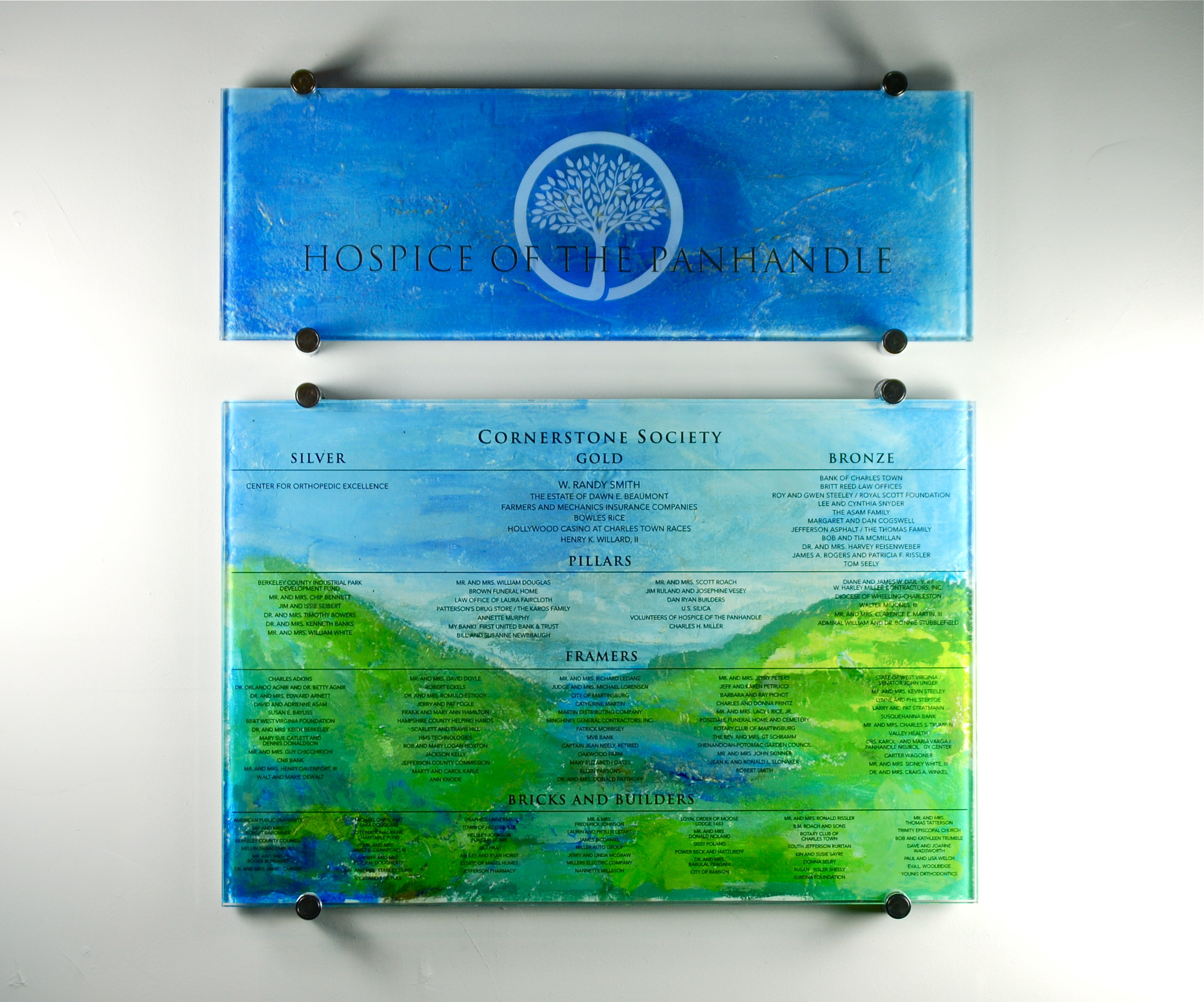 Hospice of the Panhandle - Donor Recognition Panels - Fused and Hand-Painted Glass.