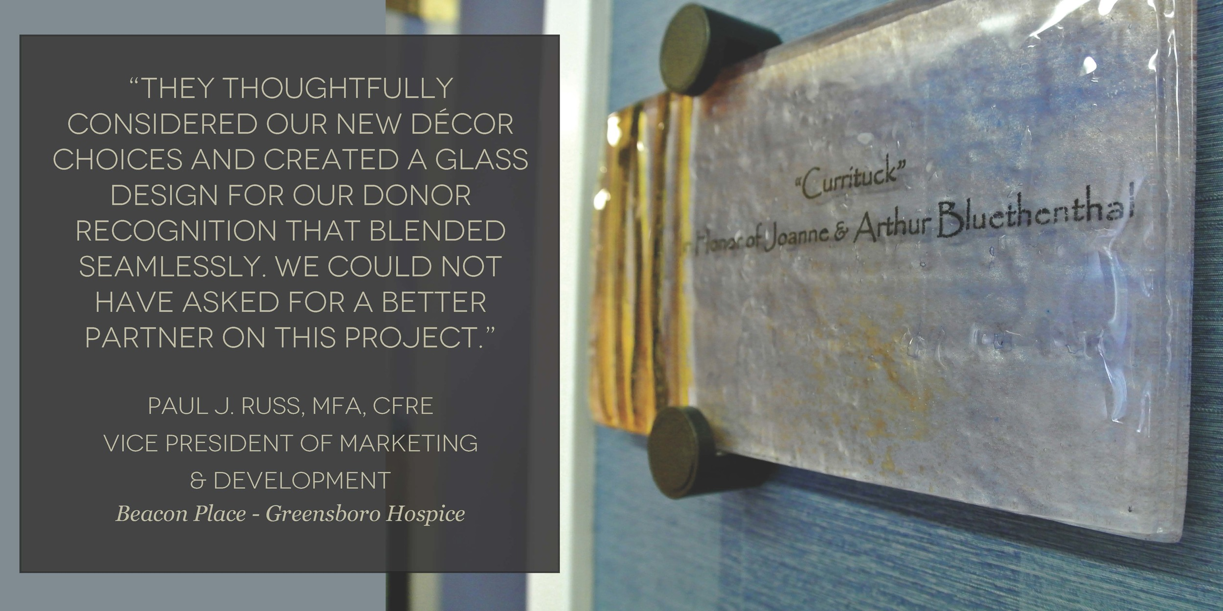 Beacon Place Hospice - Donor Recognition Plaque - Fused and hand-painted glass in gold and black ribbons on blue color palette (quote).