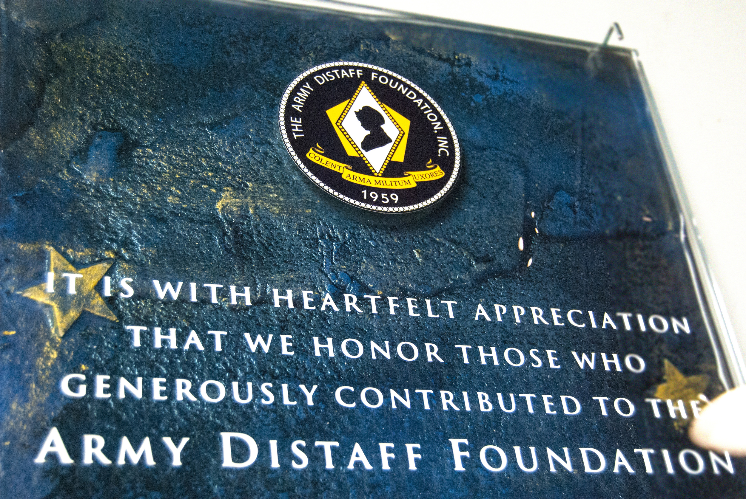 Army Distaff Foundation - Donor Recognition Wall - Fused and Hand-Painted Glass.