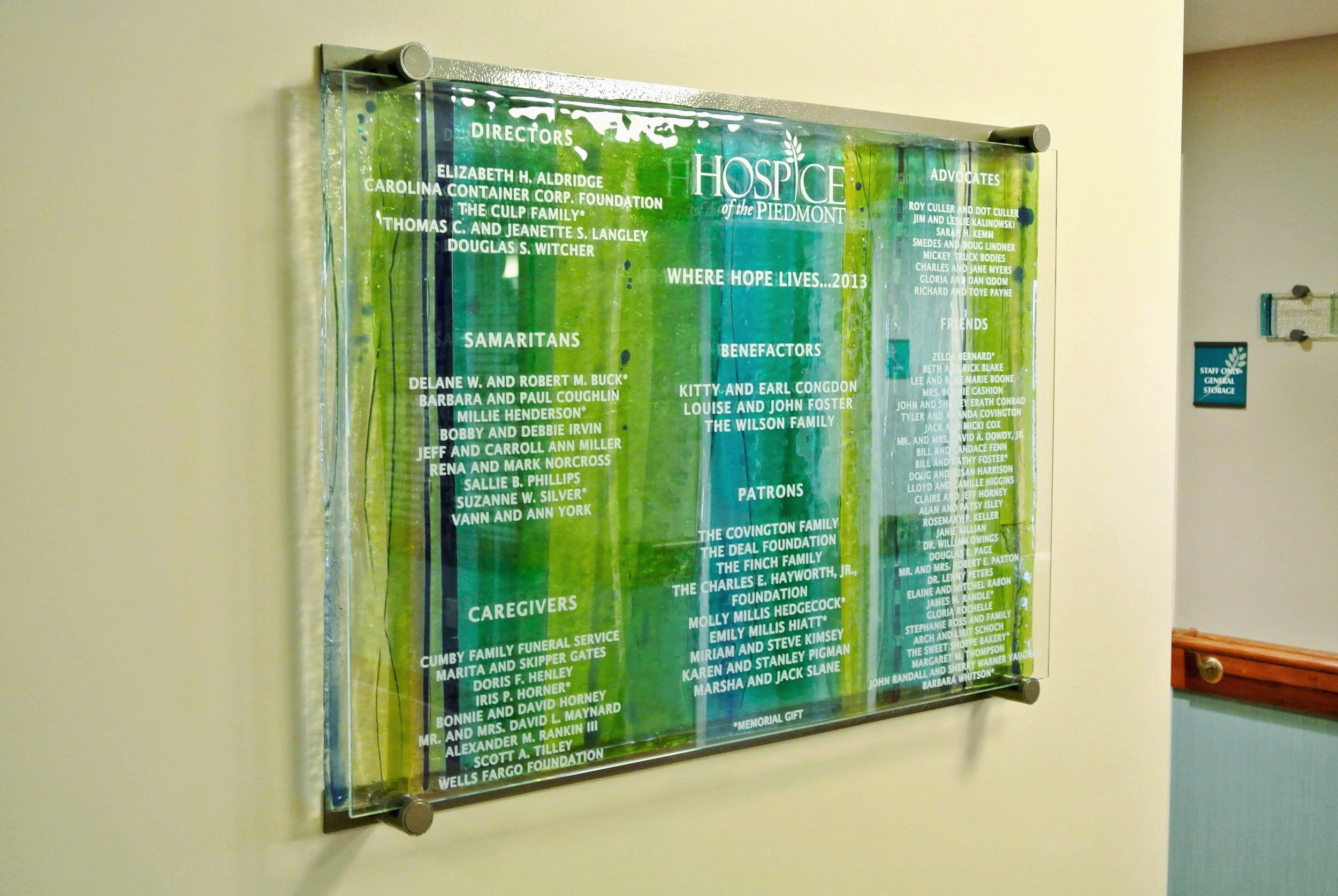 Hospice of the Piedmont (full view) - Donor Recognition Panel - Fused Glass.