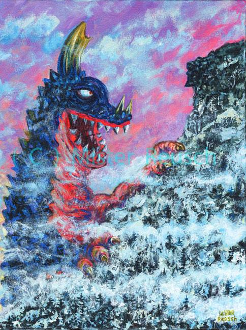 """Kaiju Axron Visits the Old Man of the Mountain, NH, 1973"""