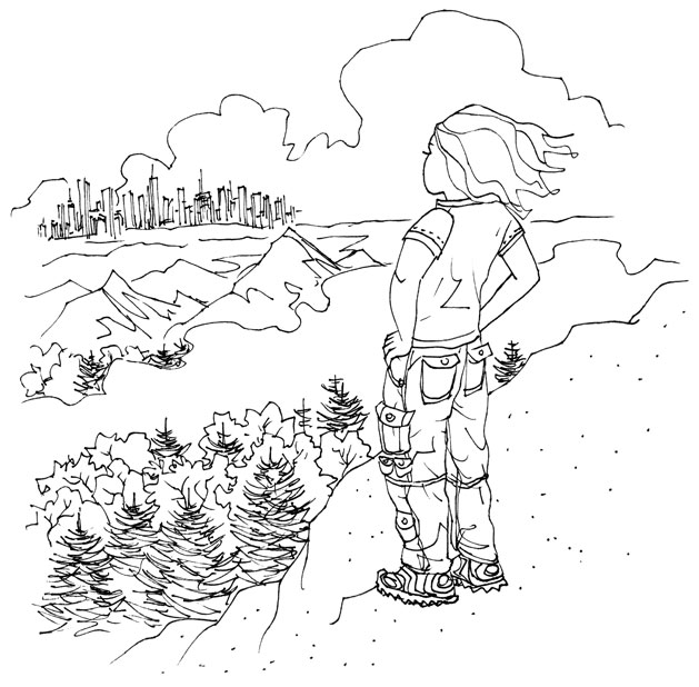 """""""Why Go Camping?"""" line art"""