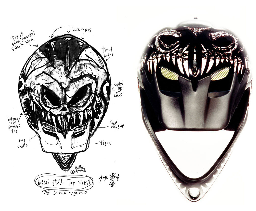 MT-1 Helmet top sketch and 2001 finish