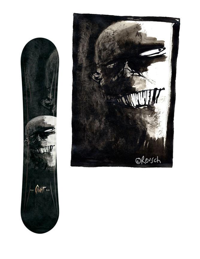 5150 Covert snowboard & sketchbook painting