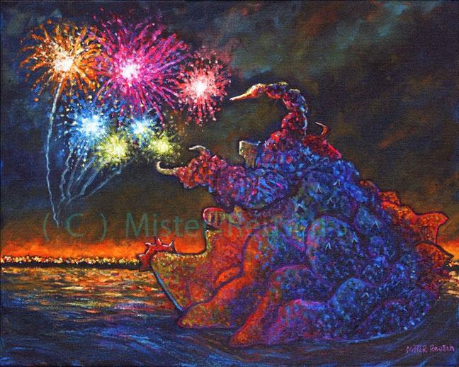 """Kaiju Zanga Surfaces Off Hampton Beach, NH, 1986"""