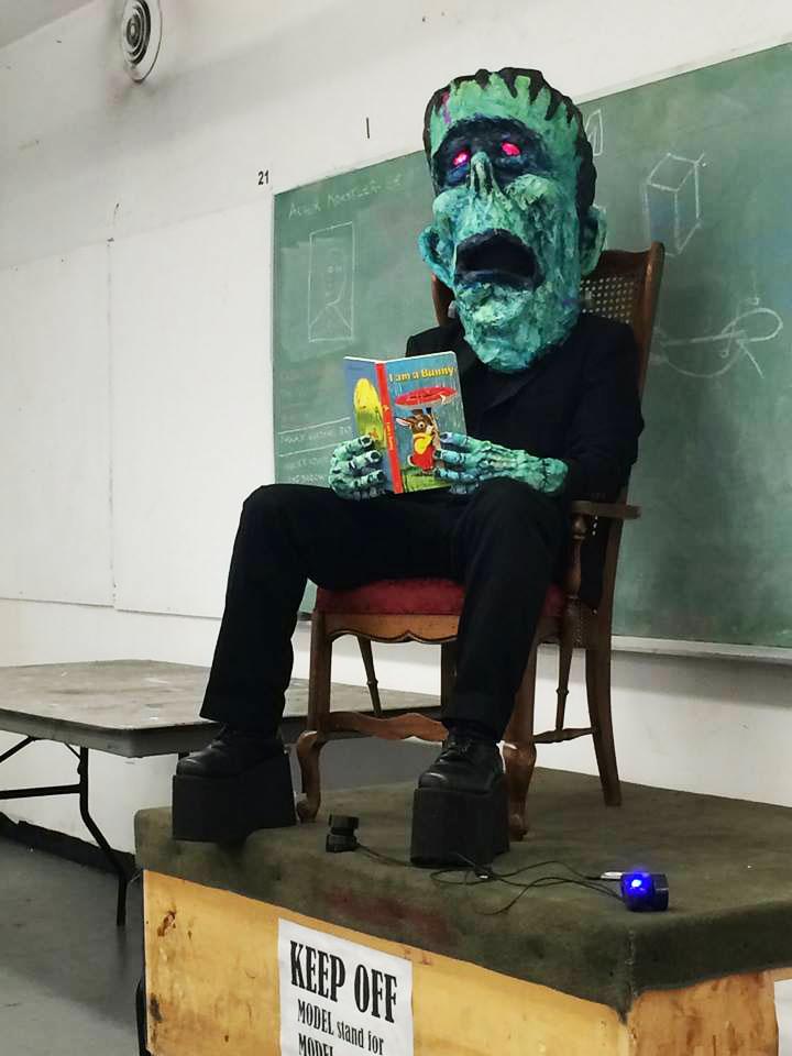 modeling in my Frankenstein Monster mask & costume