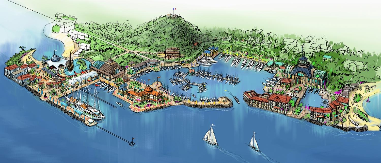 Port of Marigot Aerial Rendering