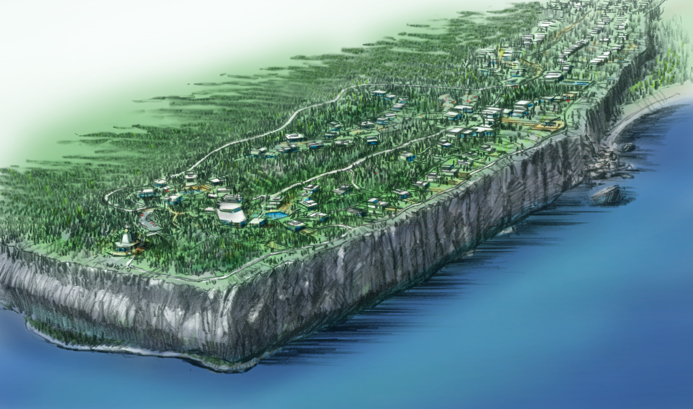 The Bluff at Cayman Brac Aerial Rendering