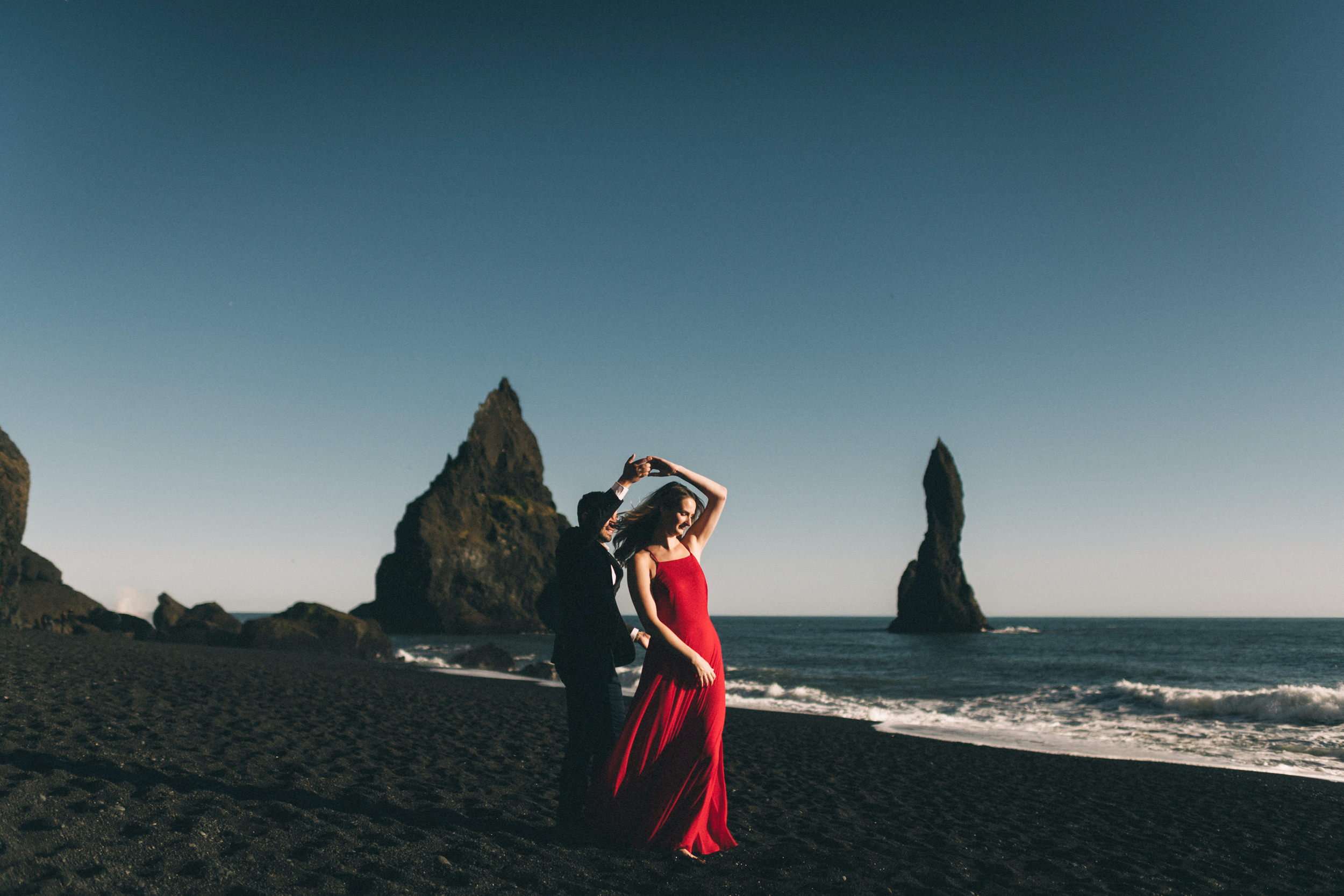Sarah-Katherine-Davis-Photography-Iceland-Adventure-Elopement-Photographer-Louisville-Kentucky-Wedding-Photographer-Travel-Vik-Beach-Engagement-Session-Red-Dress-Reynisfjara-84edit.jpg