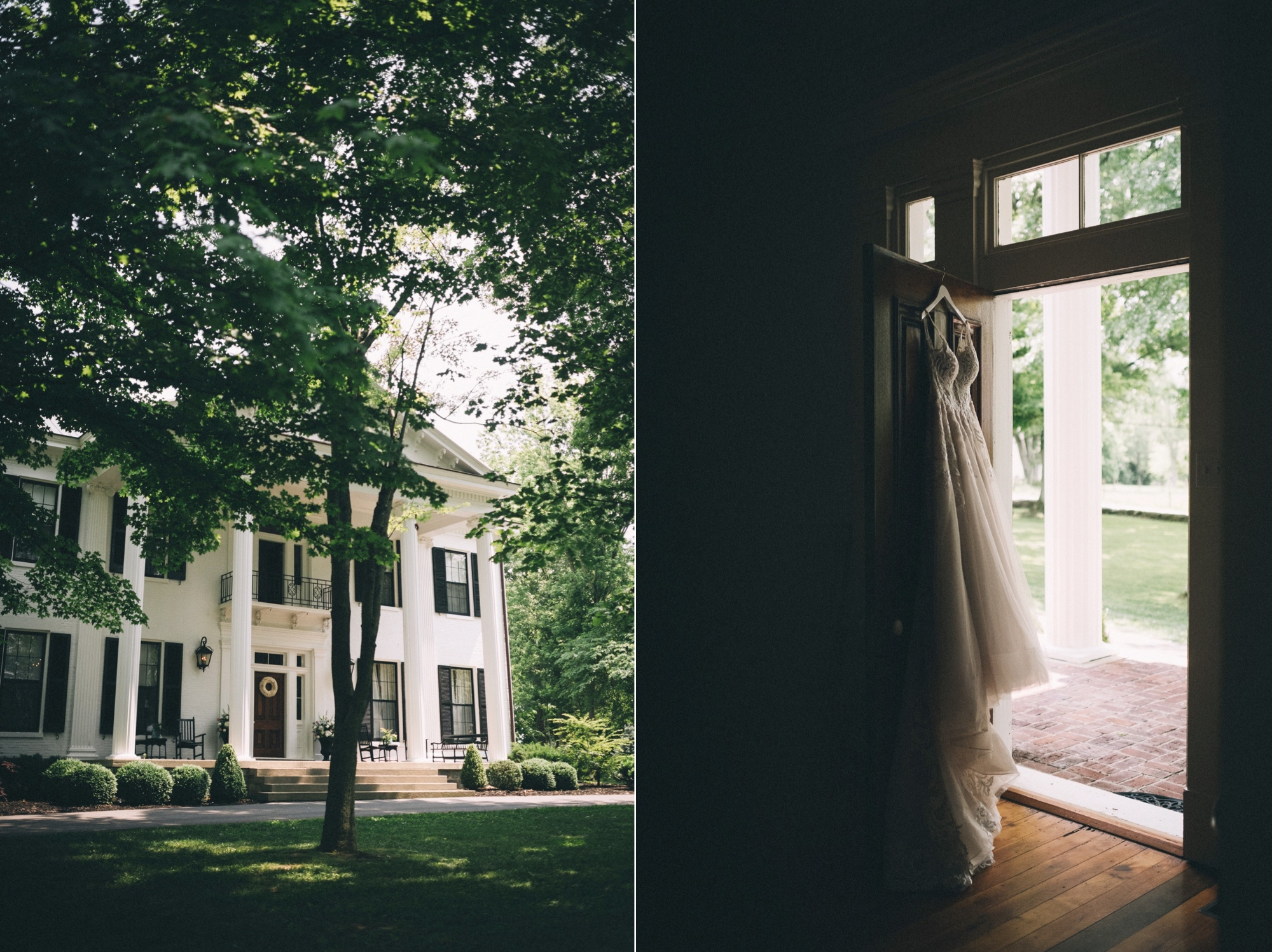 Left imageL The exterior of Ashford Acres inn - a historic two story white home with four large columns and black wooden shutters. Right image: a wedding dress hangs in a doorway. You can see a white column outside. The dress has a lace top and tulle in the bottom.