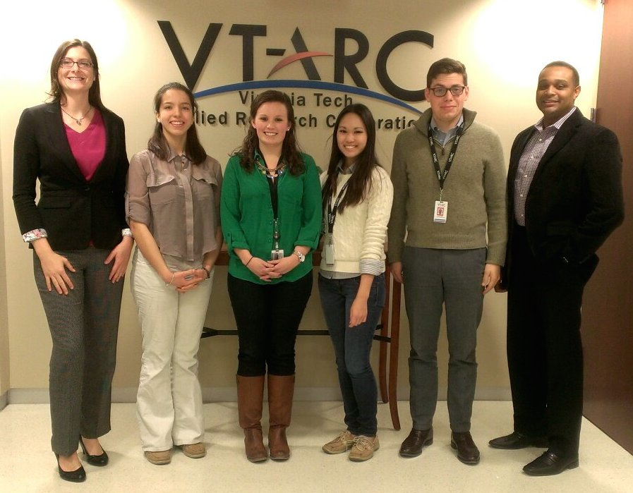 """Ms. Rasmussen (left) brought a student from George C. Marshall High School to job shadow at multiple business engagements, including technology """"red team"""" meetings at Virginia Tech Applied Research Corporation (VTARC)."""