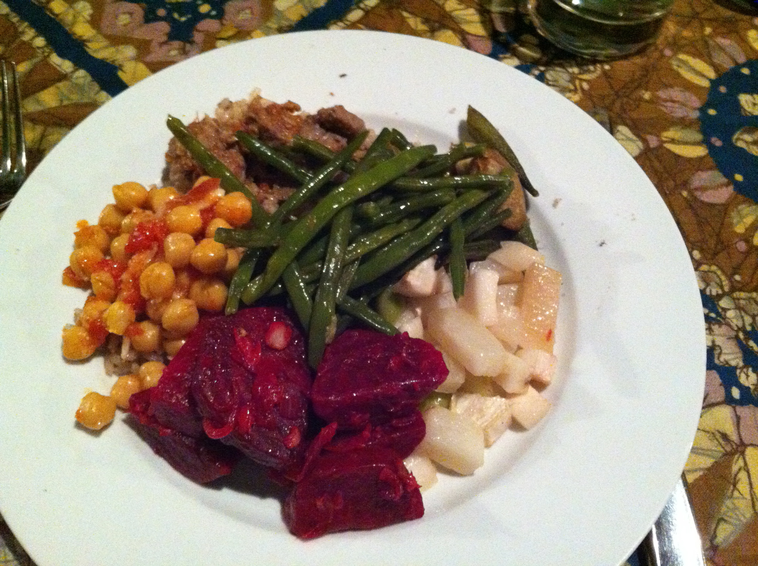 An example of our amazing meals. Plenty of vegetables from the garden to fill our bellies.