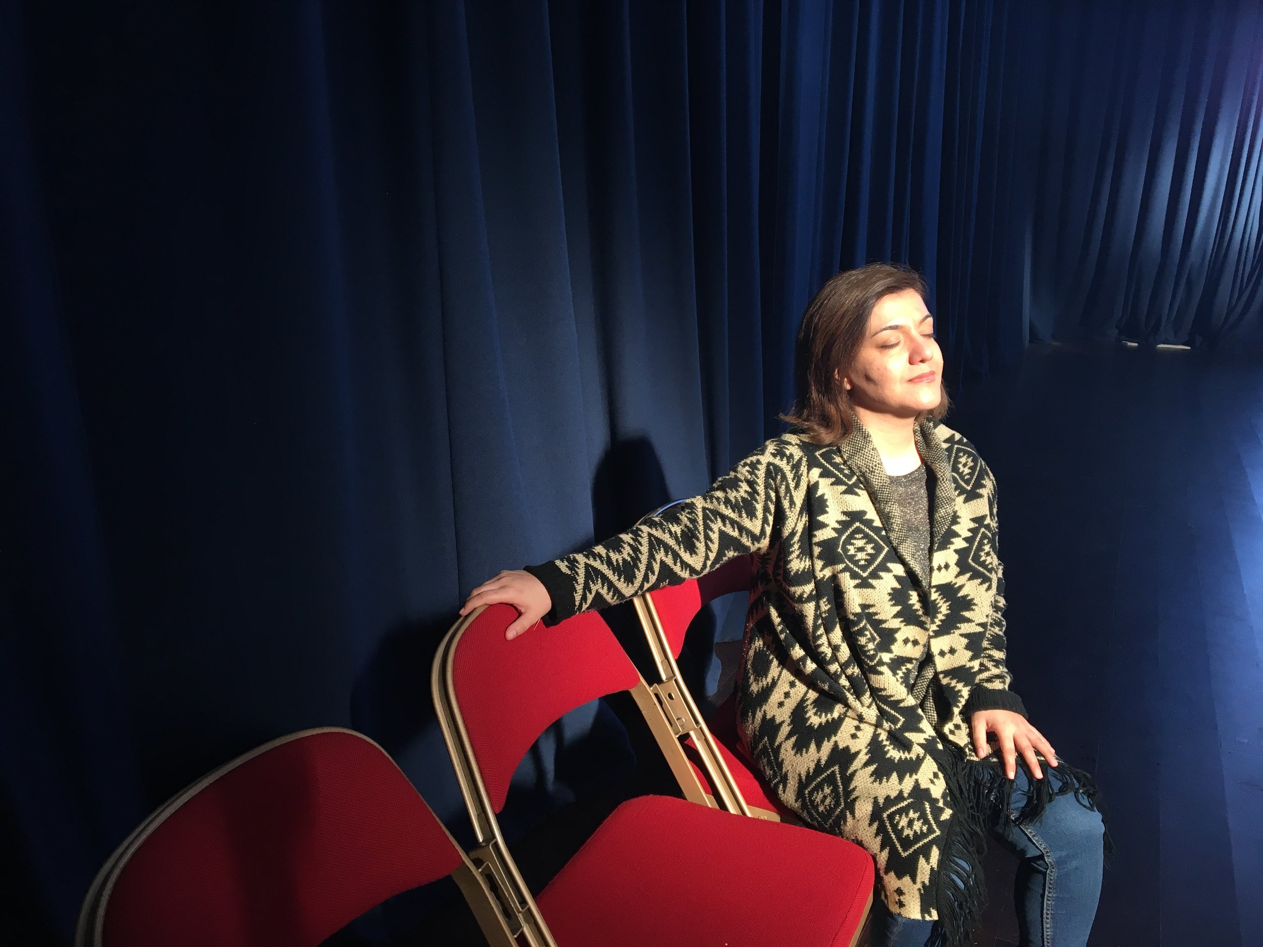 Kurdish Actress Taban in rehearsal at Trinity Centre