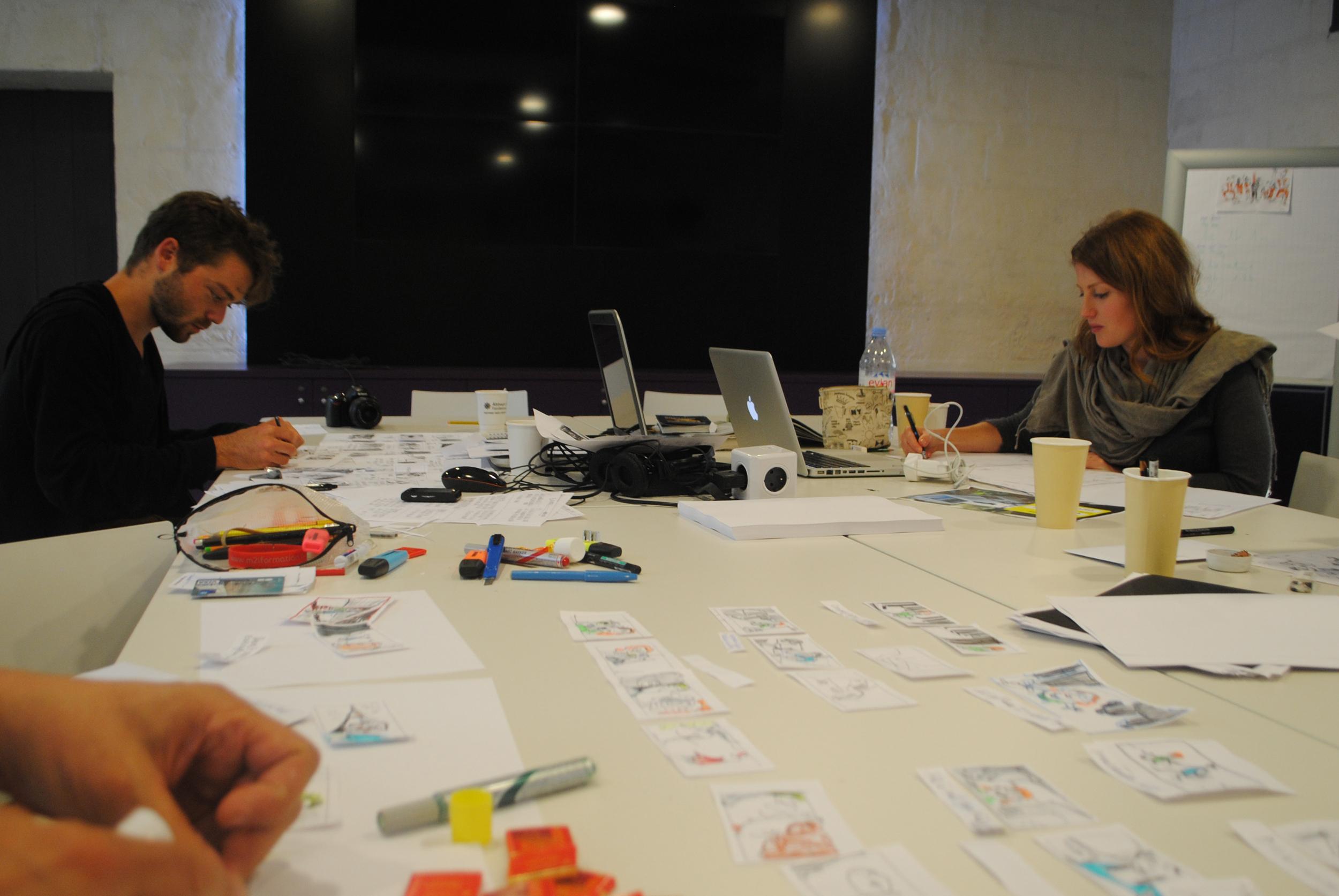 Emmanuel Morin captures Antoine and I working hard on our storyboards.