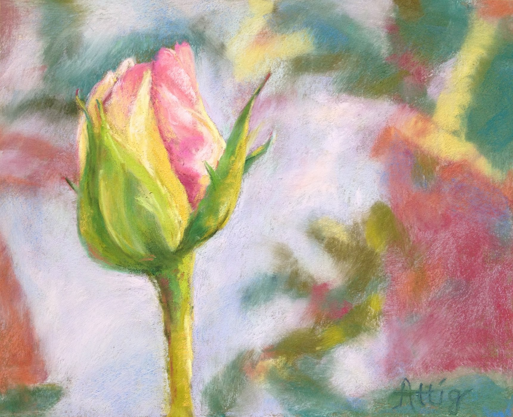"""Day 1: """"Ranch Rose """" 8"""" x 10"""" SOLD"""