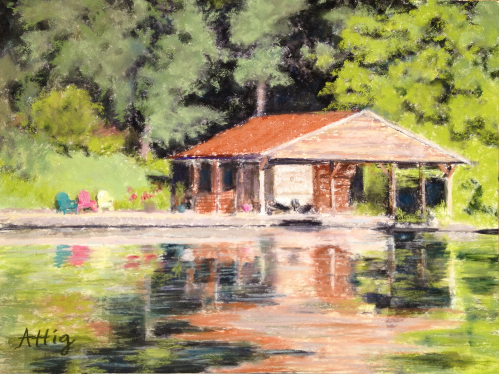 """""""Reflecting on Lake Springfield"""" 12"""" x 16"""" SOLD. Donated to Denim and Diamonds."""