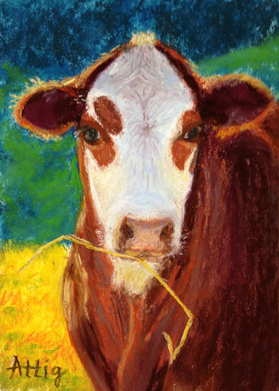 """Tristan's Cow"" 7"" x 5"" $330 SOLD"
