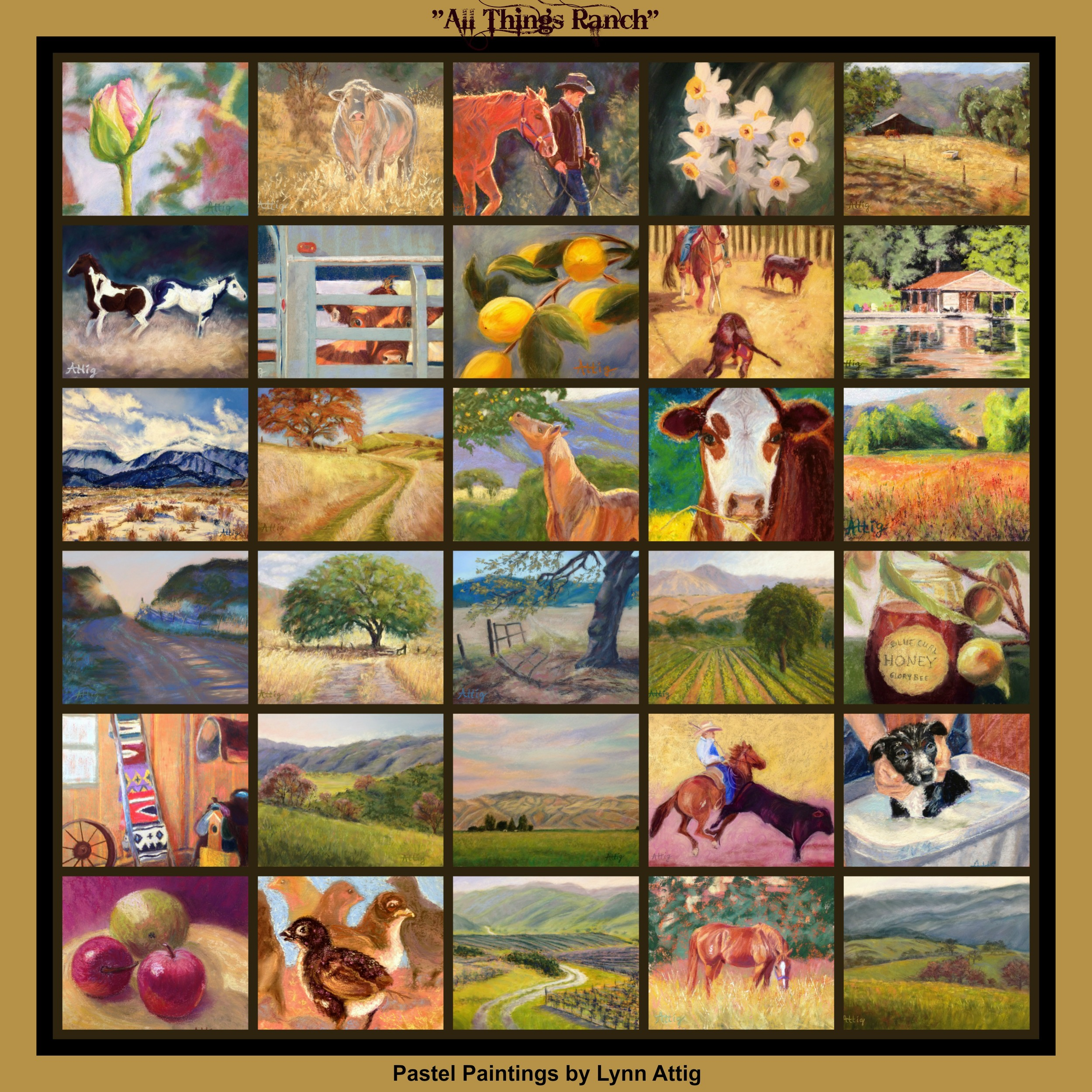 """Final Collage of all paintings completed during the Leslie Saeta """"30 in 30 Challenge"""" during the month of September, 2013."""