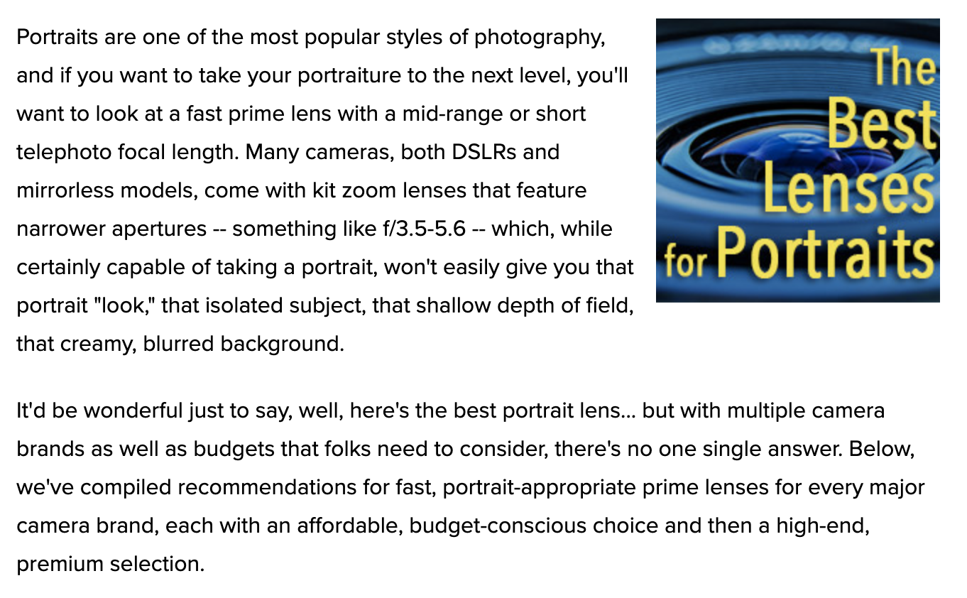 The Best Portrait Lenses for Every Camera Brand