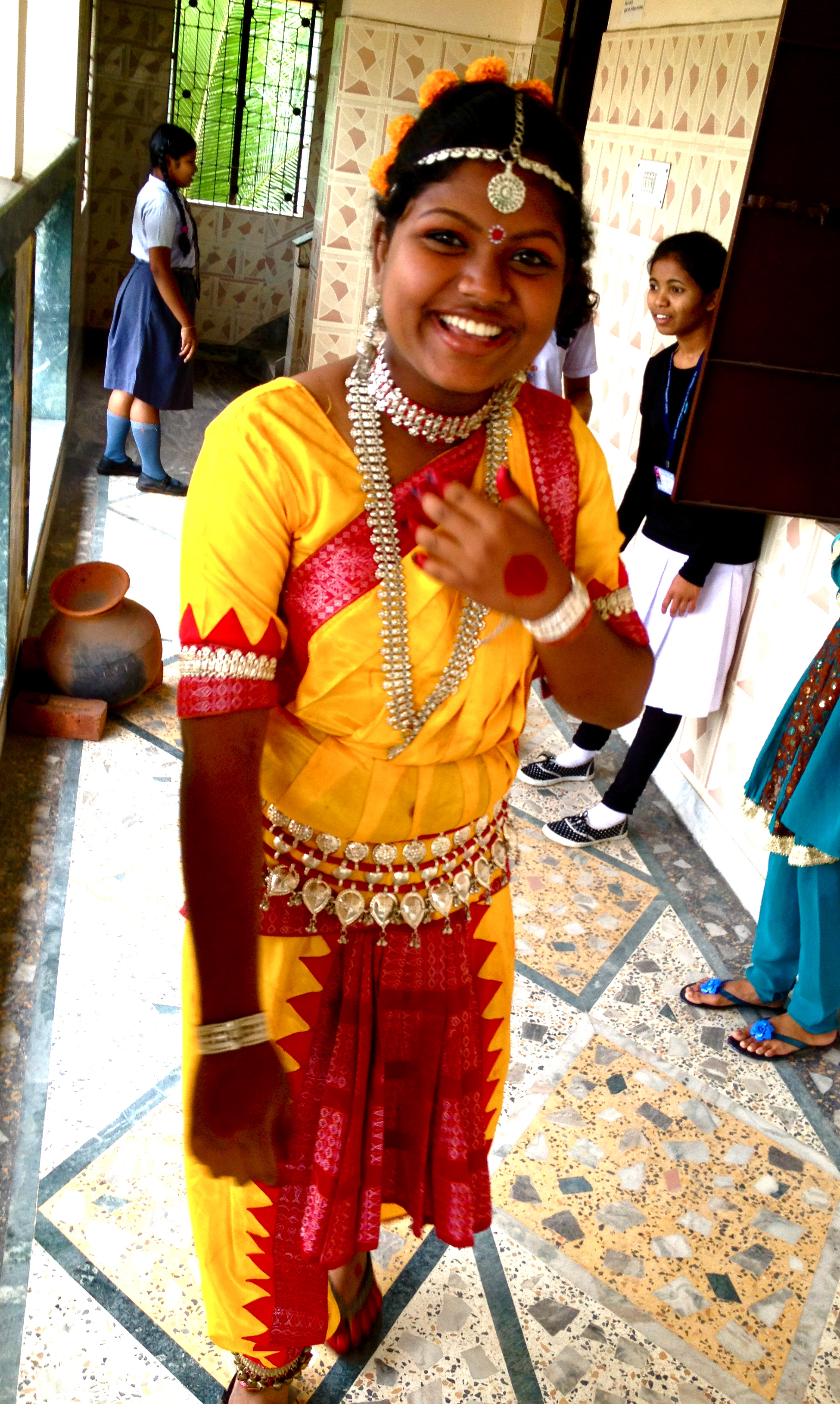 A traditional Hindi costume--I love all the bells that jingle as she moves!