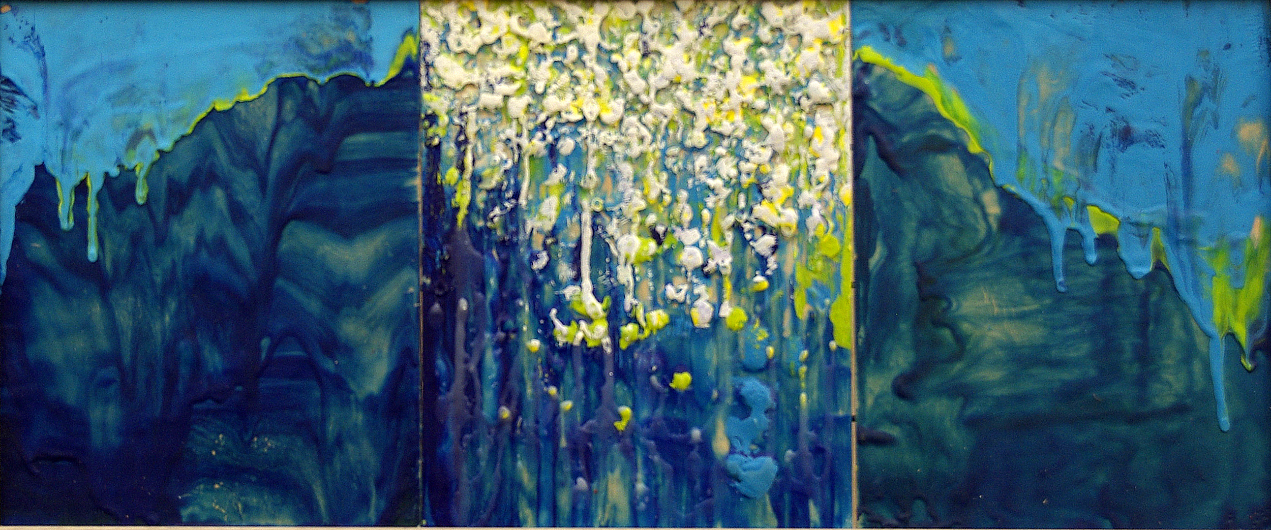 Turquoise and Yellow Rain Triptych