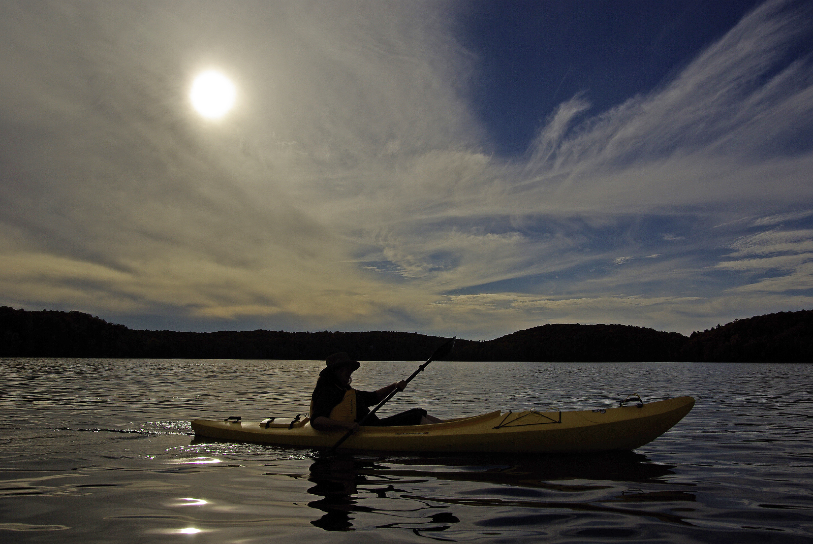 Annette and her kayak, Miskwabi Lake, Haliburton Ontario.