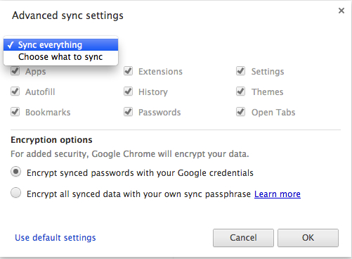 Chrome Sync in Settings