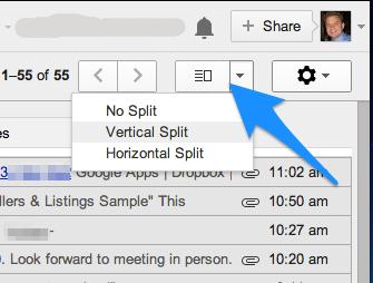 Select a Vertical or Horizontal Split
