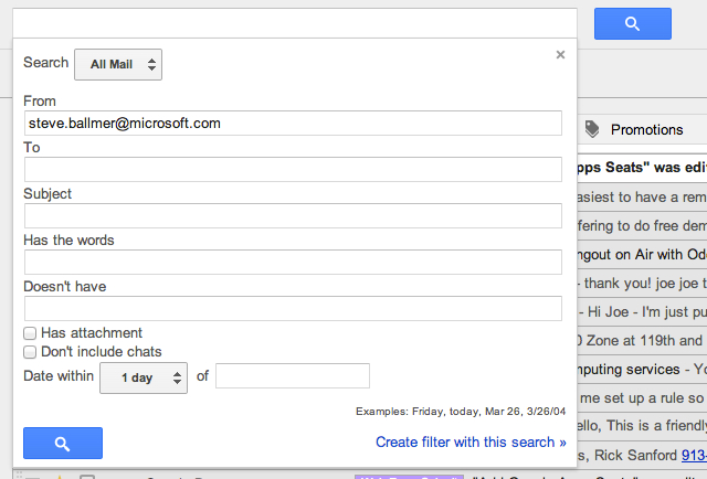 Rather than using Search operators, you can also use Advanced Search