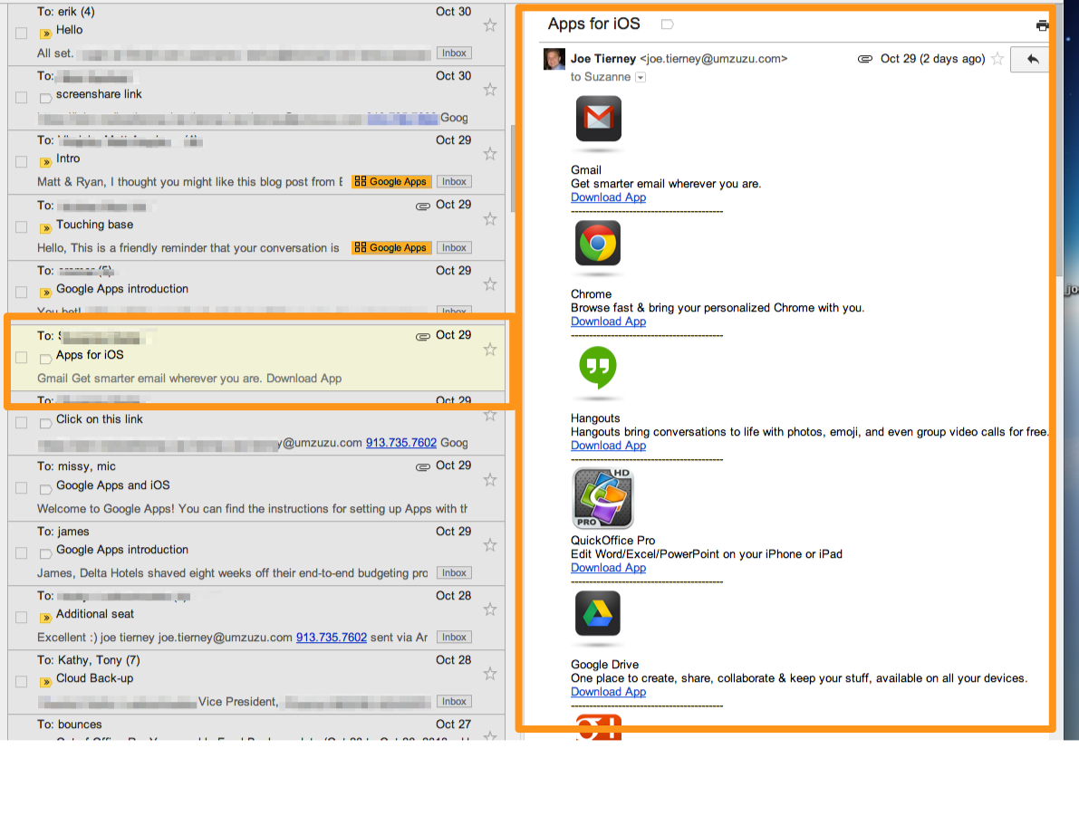 Gmail Preview pane, selected message or conversation and Preview Window. Example shows Vertical Split