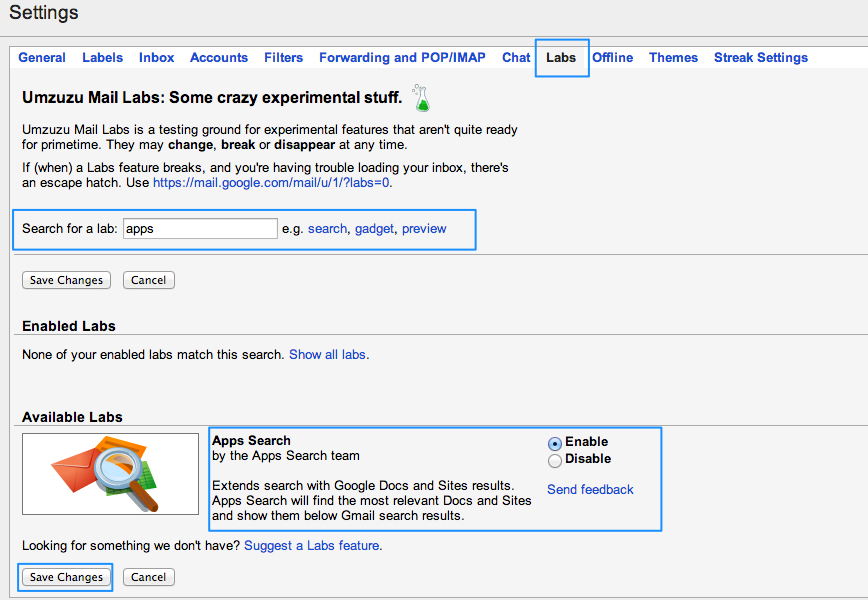 Search Gmail, Docs and Sites!