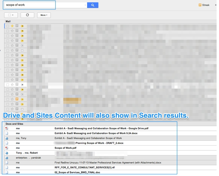 Drive and Sites results show below email results.