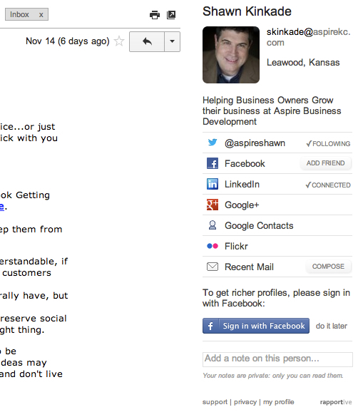 Rapportive is a must have extension for Chrome, Firefox and Safari. It brings Linkedin information into Gmail.