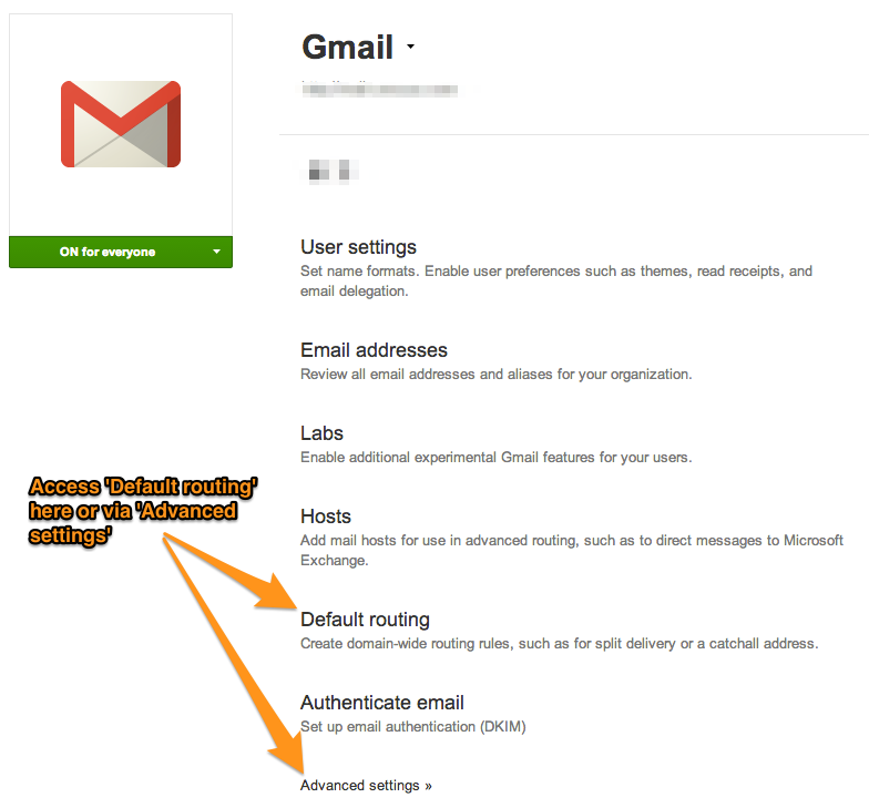 Google Apps Control Panel Dashboard > Google Apps > Gmail