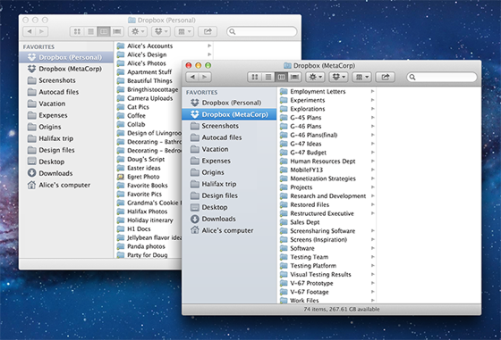 Here we see a Business and Personal Dropbox account on Mac OS X