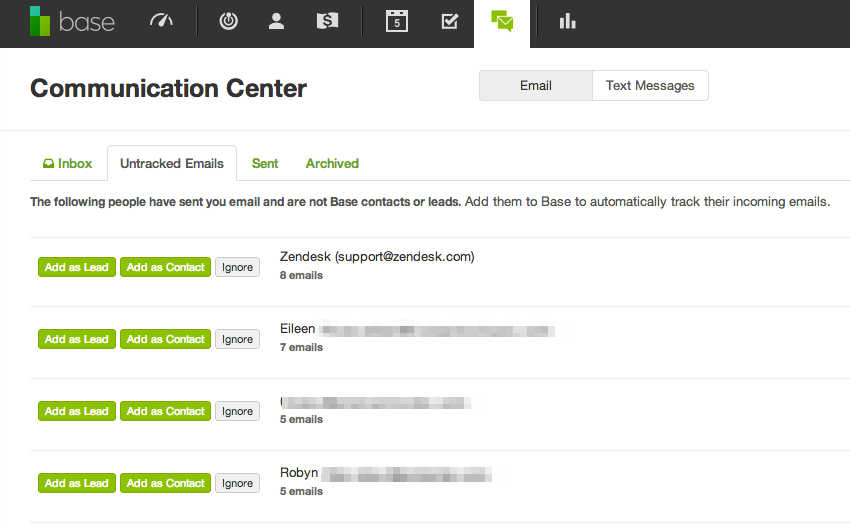 Base CRM Untracked Emails