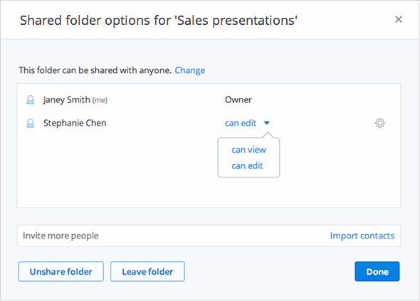 A look at the new 'can view' sharing options.
