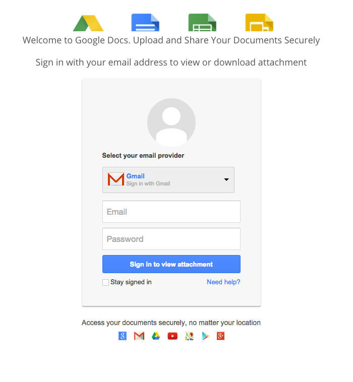 """Click on the document takes the user to this fake """"login page"""" which is actually just a form to capture more email addresses and passwords."""