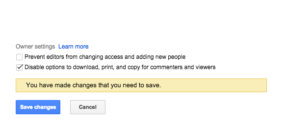 Disable options to download, print, and copy for commenters and viewers under the 'Advanced' sharing options.