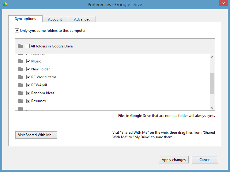 Google Drive Sync options in Preferences can help save local disk space