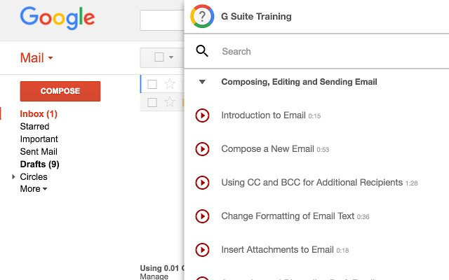 New to G Suite? G Suite Training is a Chrome extension that offers simple and interactive training lessons to get you up and running fast with G Suite (formerly Google Apps).