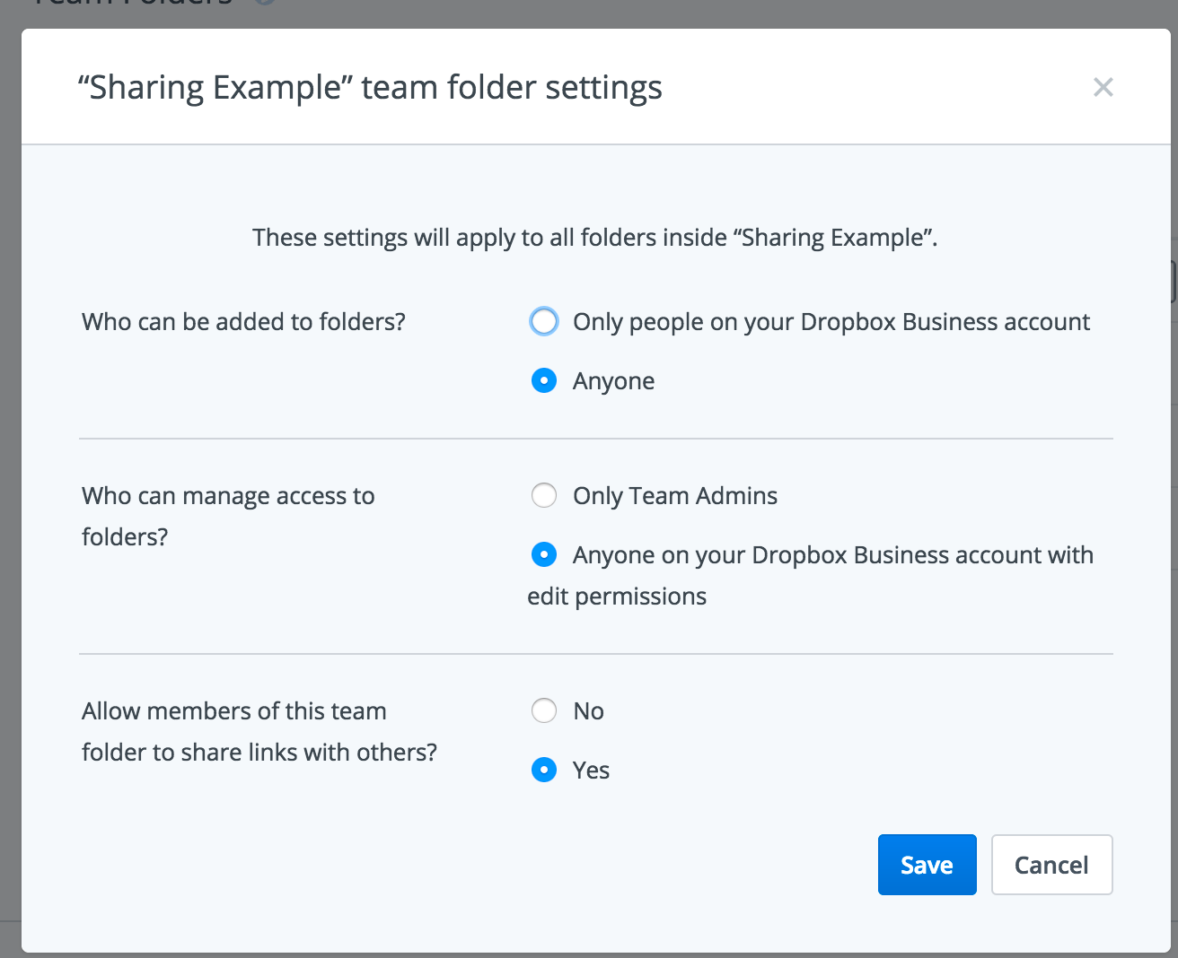 Team Folders can have different permissions depending on the use case.