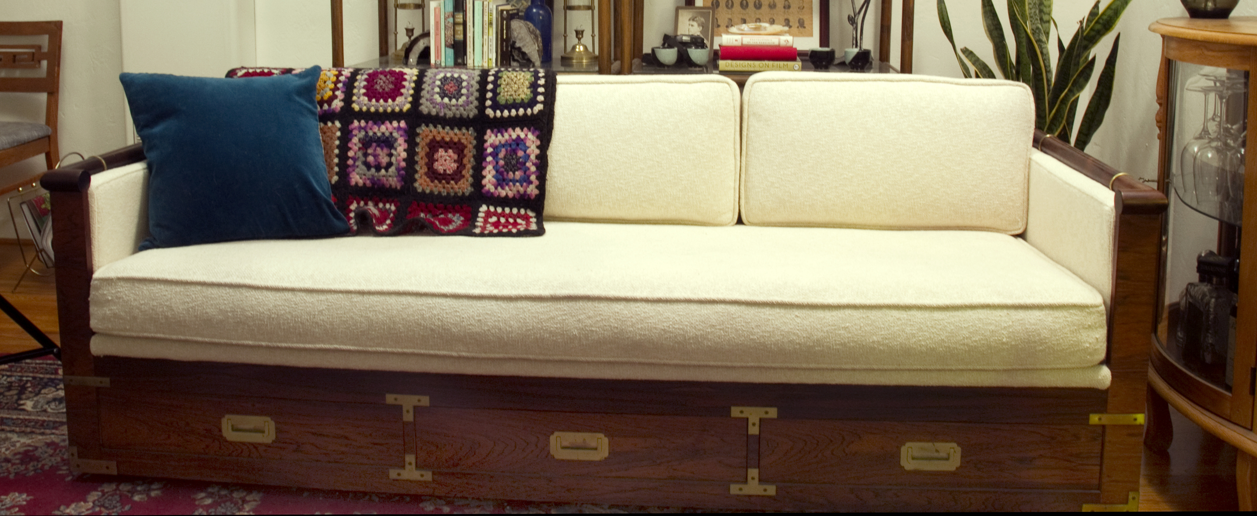 Emma's living room sofa.  Rosewood campaign sofa with brass detail.