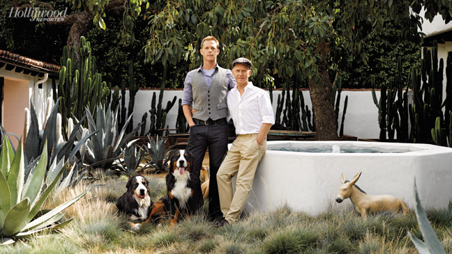 Ryan Murphy with husband, David Miller, and their two dogs, Sara (left) and Owen.