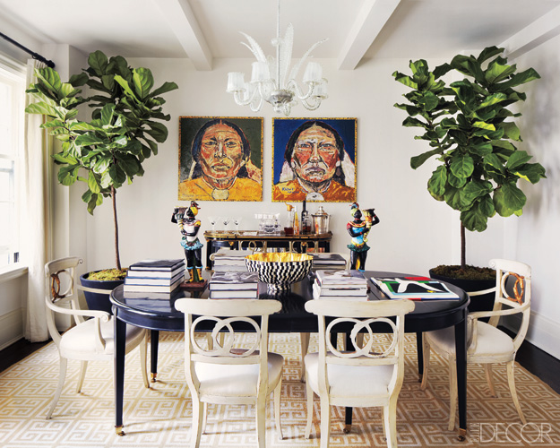 fiddle leaf fig indoor plant dining room art greek key rug.jpg
