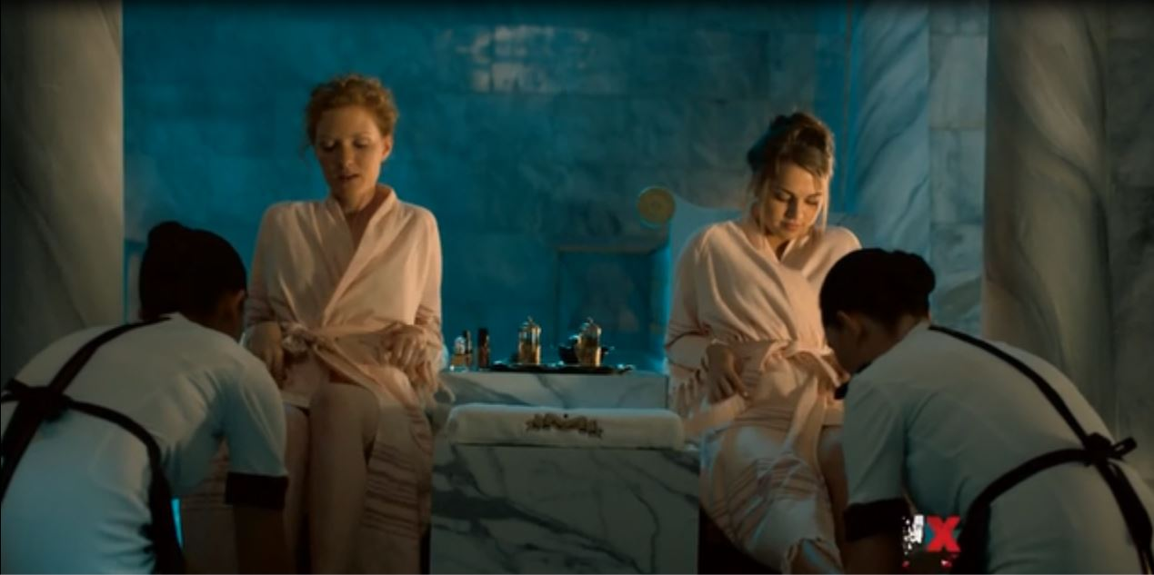 Tyrant: Season 1, Episode 10 - All marble bathroom. This is a room fit for two ignorant american princesses.