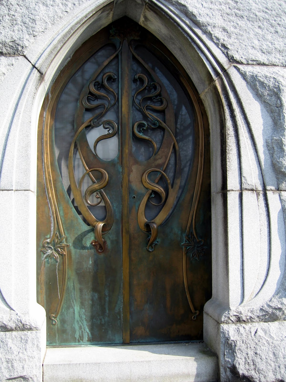 Exhibit A - mausoleum doors from Forest Hill Cemetery in Utica, NY